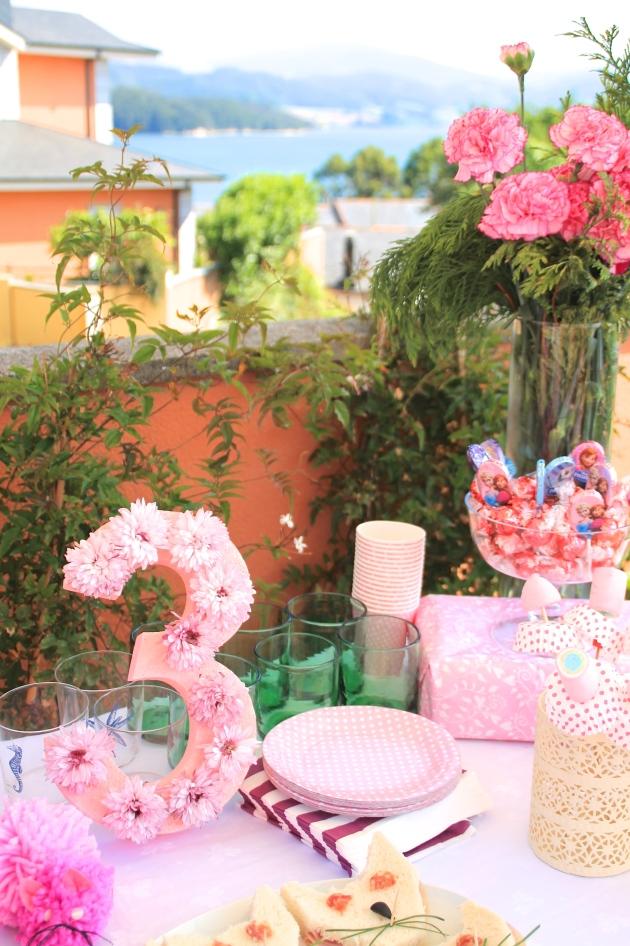 decoración, cumpleaños, niña, rosa, gatitos