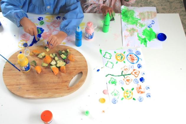 pintar, plantas, niños