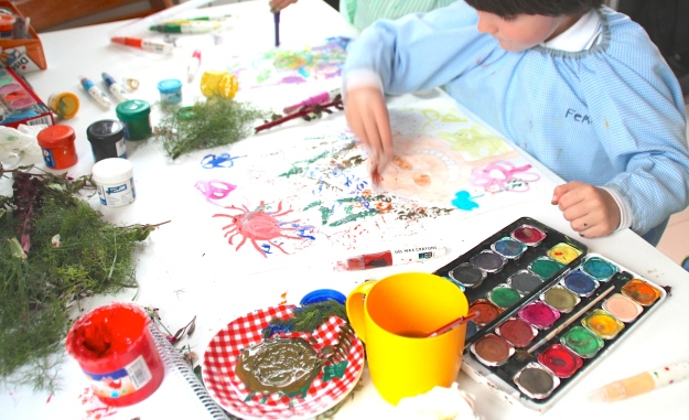 pintar, con plantas, niños