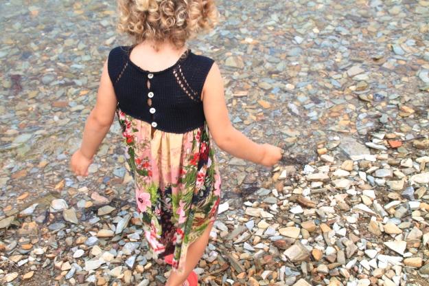 vestido, niña, punto
