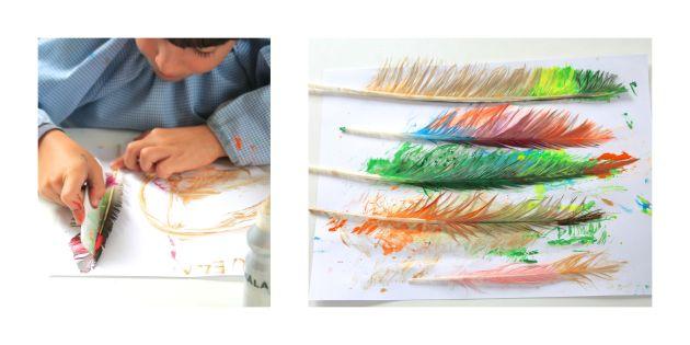 pintando, plumas